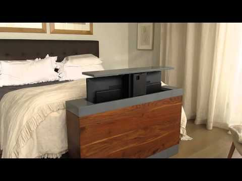 BFW   Detailed Pictures Of The Popup TV Cabinet: Black Walnut, Grey Laquered