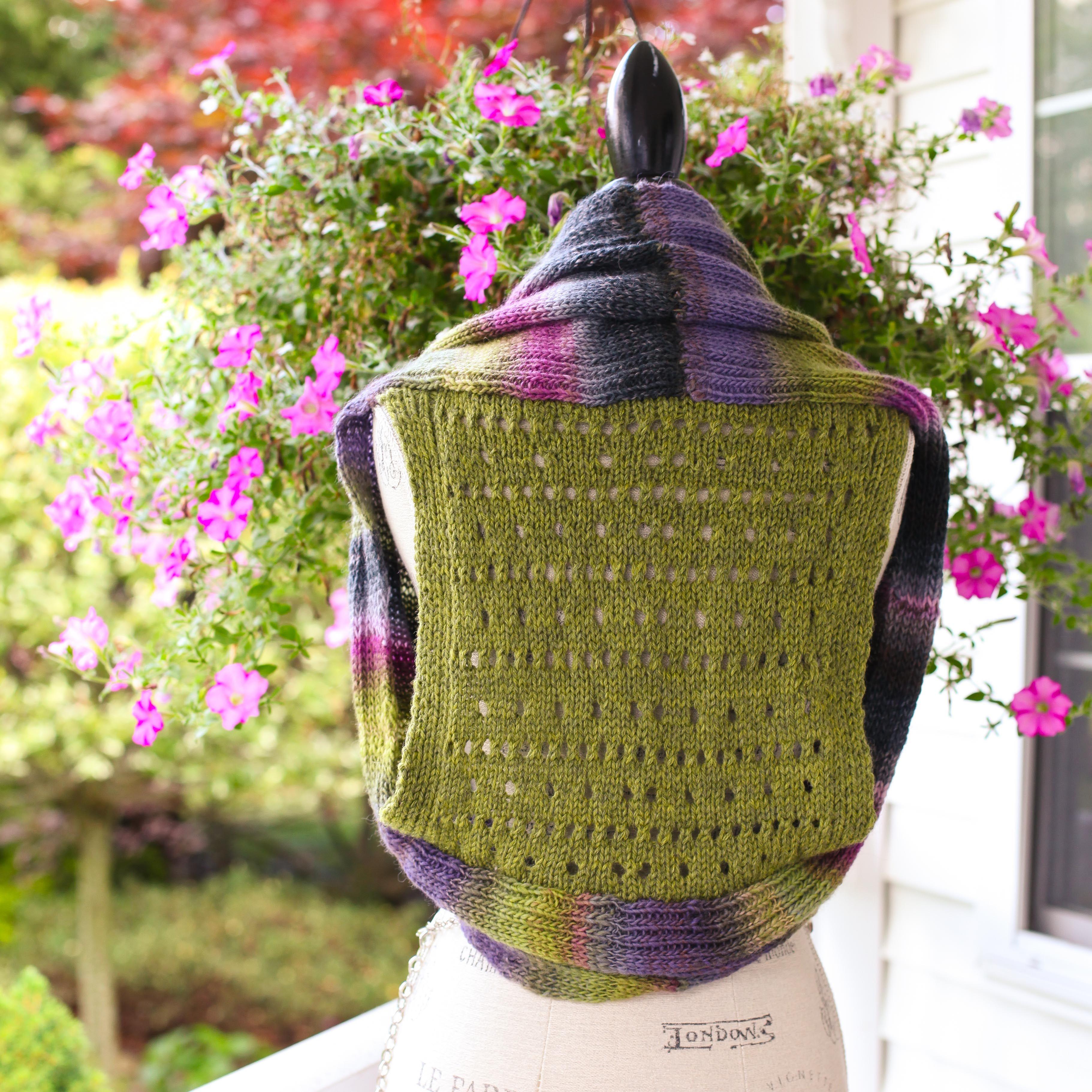 461c398cf57 Loom Knit Shrug Vest Pattern. Vest Has A Pretty Eyelet Lace Back ...