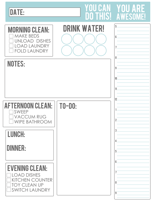 The Busy Budgeting Mama: MY NEW GAME PLAN  FREE Housework/Meal Planning  Printable