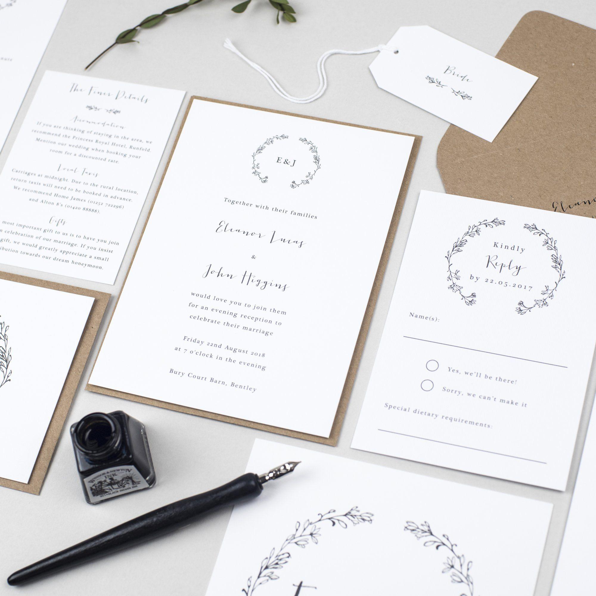 Delicate Laurel Wedding Invitation Suite | Wedding Invites ...