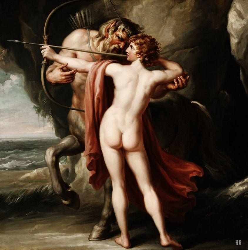 Chiron instructing Achilles in the bow. 1776. Giovanni Battista Cipriani. Italian. 1727-1785. oil on canvas.