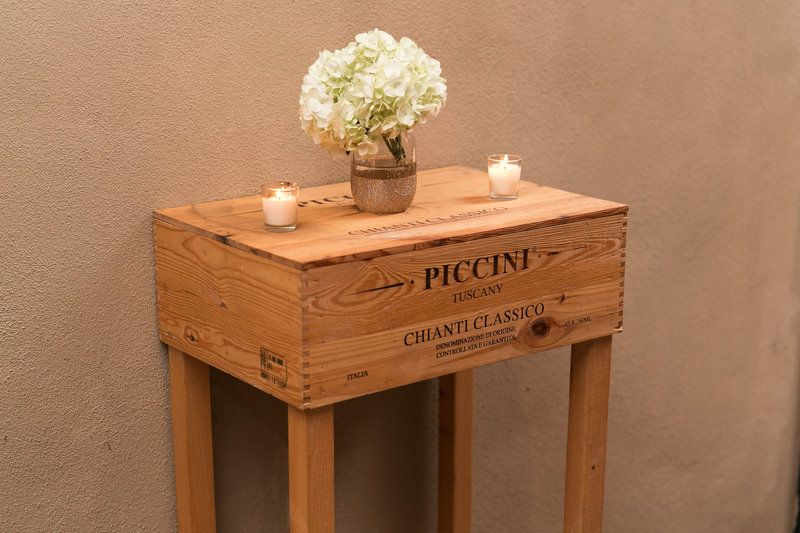 Wooden wine box table and gold dipped mason jars. photo by k&k