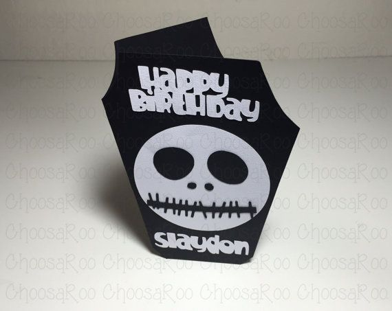Jack Skellington Inspired Birthday Card Halloween Greeting Card