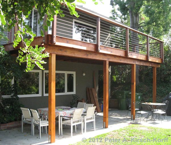 Matching second story deck with cable railing woodland for Second floor deck