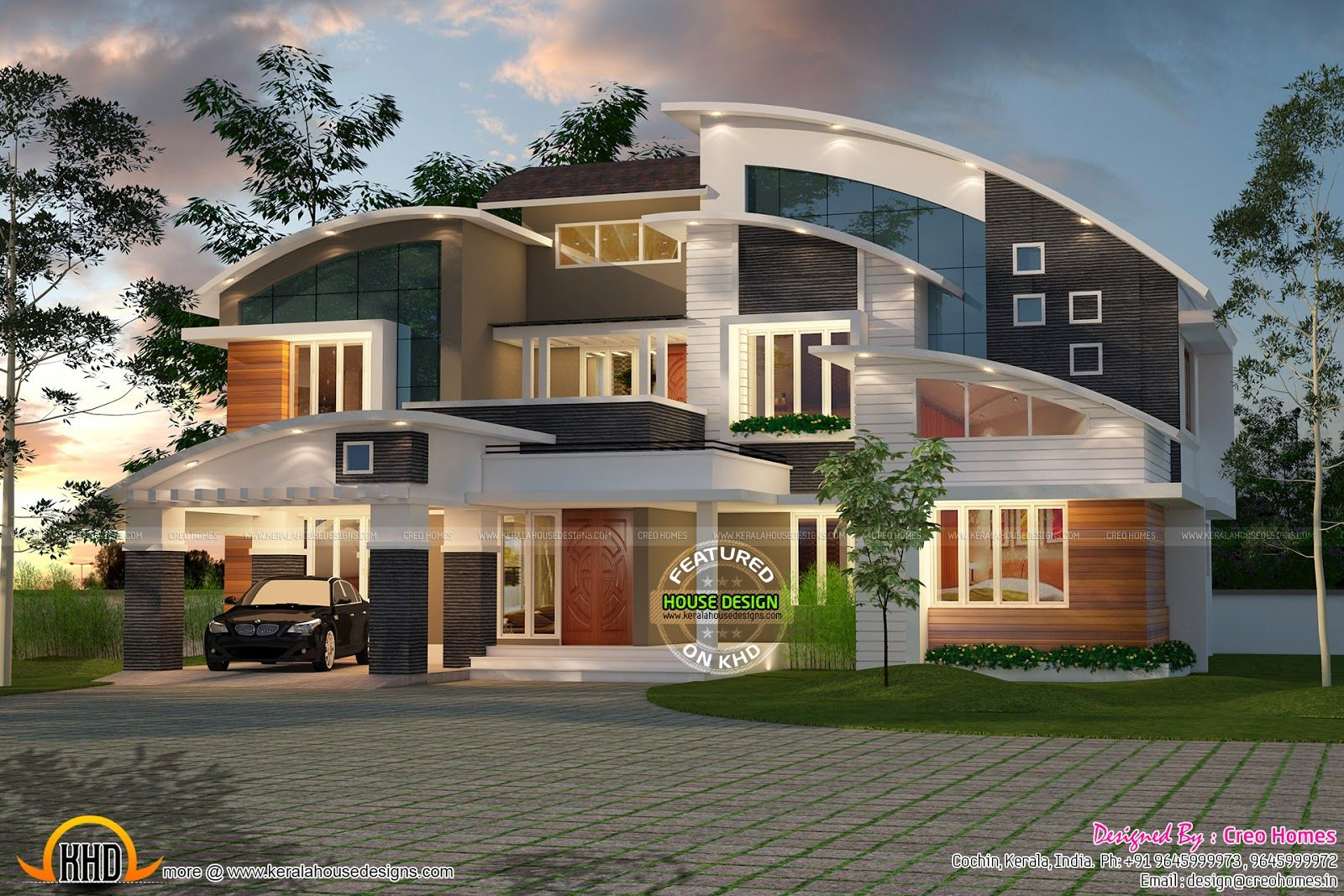 Sloping Roof Contemporary Mix Keralahousedesigns Minecraft House Designs House Architecture Design Luxury Homes Exterior
