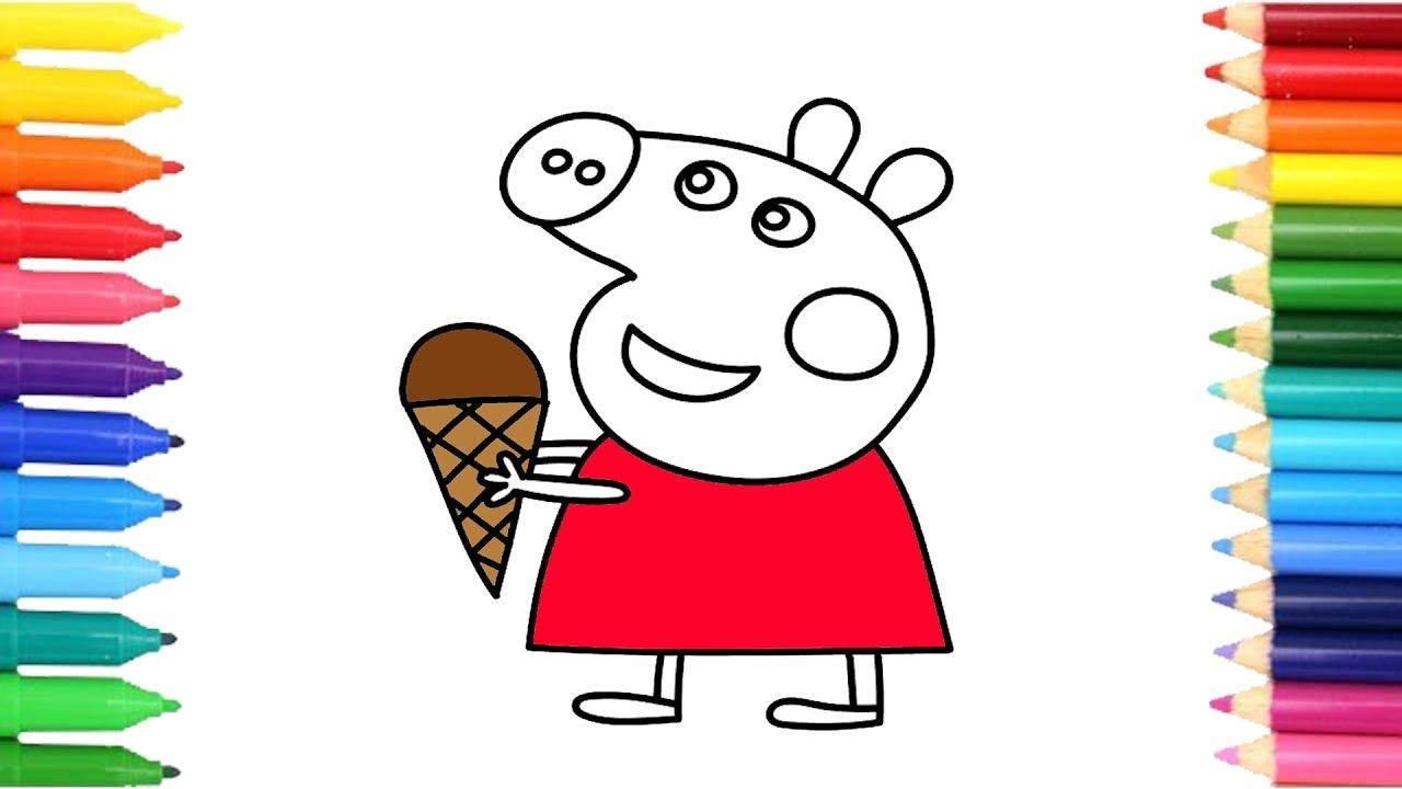 How to Draw Colorful Peppa Pig Ice Cream and Doraemon, Coloring ...