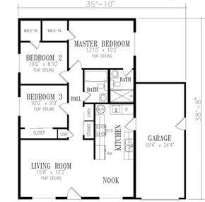 Adobe Southwestern Style House Plan 3 Beds 2 Baths 967 Sq Ft Plan 1 136