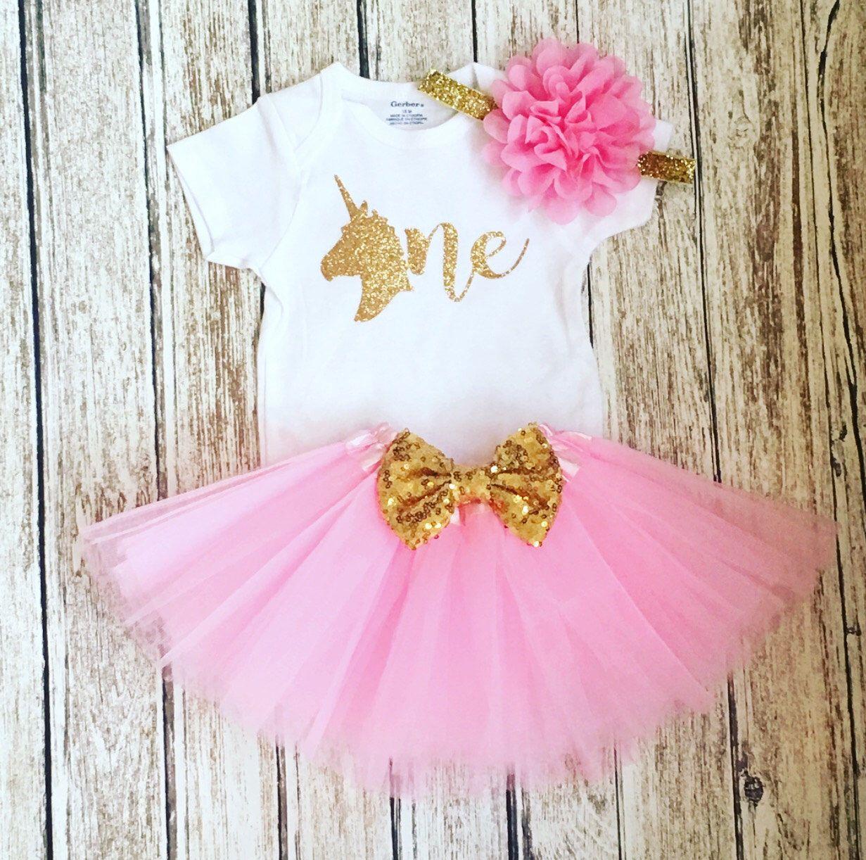 Girls First Birthday Outfit Pink Gold Unicorn theme birthday