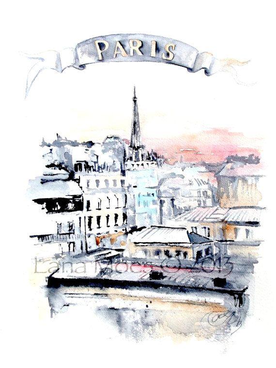 Paris Rooftops Watercolor Painting Paris Illustration