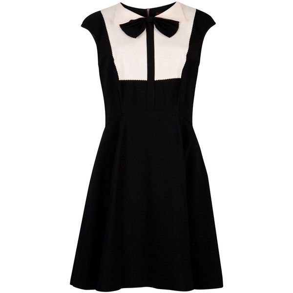 Ted Baker Nitcha bow collar dress (1,715 MXN) ❤ liked on Polyvore featuring dresses, vestidos, short dresses, black, ted baker dresses, bow neck dress, mini dress and ted baker