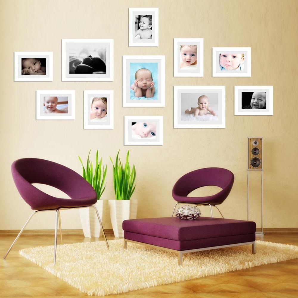 Bon Elevenfy | 11Pcs Art Nostalgic Home Decor Set Photo Frame Wood Made White  Wall Mounted 7re