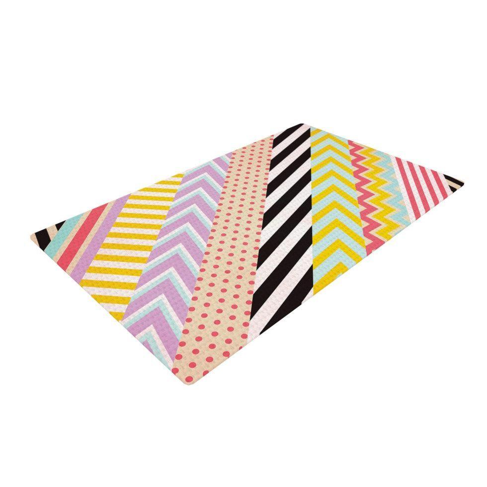 "Louise Machado ""Diagonal Tape"" Multicolor, Geometric Woven Area Rug"