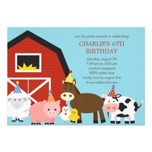 Farm Animals Birthday Party Invitation Old McDonalds Farm