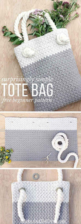 Crochet Tote Bag Simple Easy Free Pattern | Dos agujas, Hilo y Lana