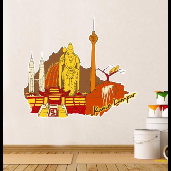 kuala lumpur illustration diy wall sticker | wall sticker