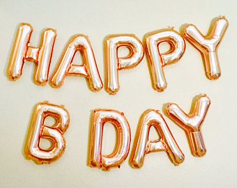 Rose Gold Happy Bday Birthday Letter Balloons Balloon Letters Party