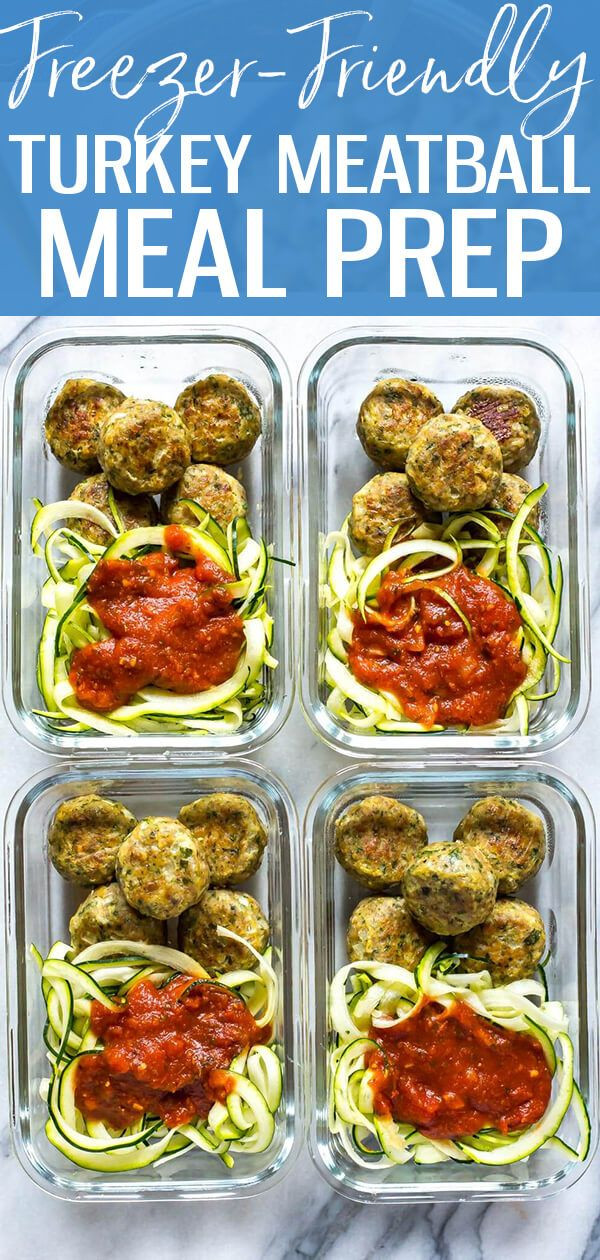 These Baked Turkey Meatballs are an awesome freezer-friendly recipe! Include them in low carb meal prep bowls with zoodles & tomato sauce for healthy lunches all week long! #BakedTurkeyMeatballs #Meatballs #crockpotmealprep
