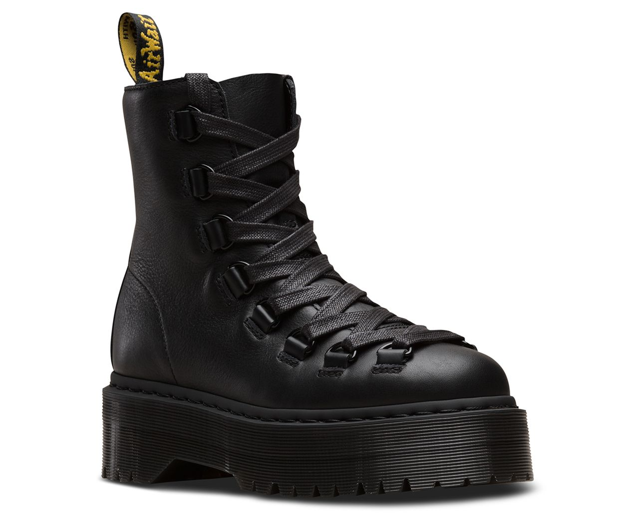 17f21aa25dc An alternative to the Jadon, this 8-eye boot's punk-inspired look is  fierce, featuring laced-to-the-toe D-rings, ribbon laces and an  extra-chunky, ...