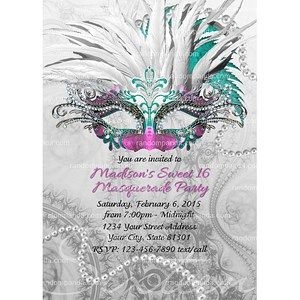 Diy Masquerade Ball Invite Sweet 16 Party Teal Mask Invitation