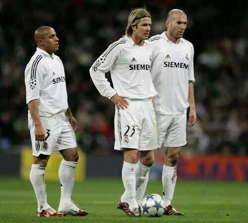 R Carlos D Beckham And Z Zidane Real Madrid Football Club Real Madrid Team Real Madrid Football