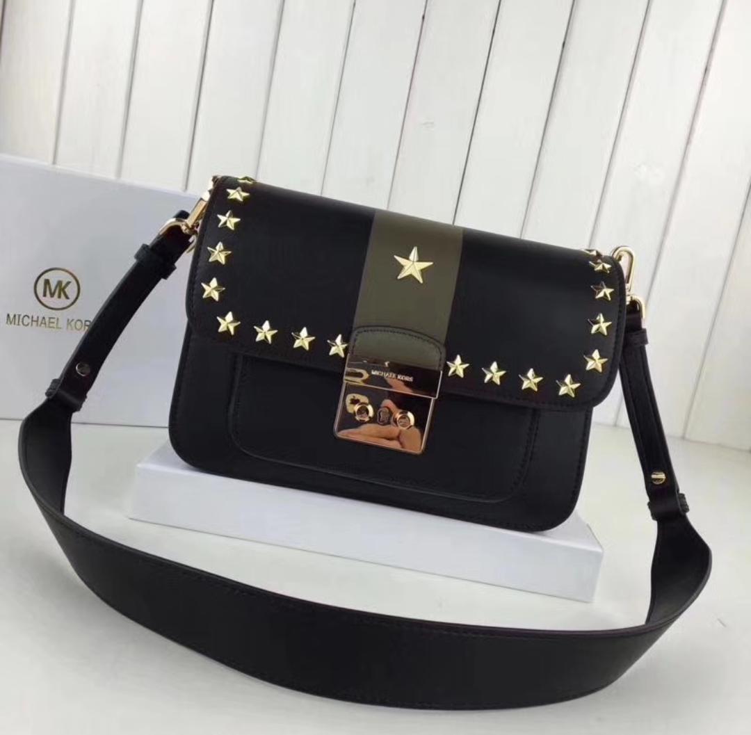 sloan editor large black and olive leather shoulder bag w stars
