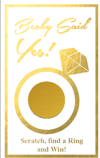 gold she said yes bridal shower scratch off game