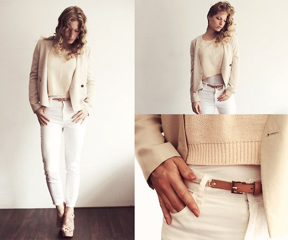 Zara Cream Blazer, H&M White Jeans, H&M Cream Top, Koi Couture ...