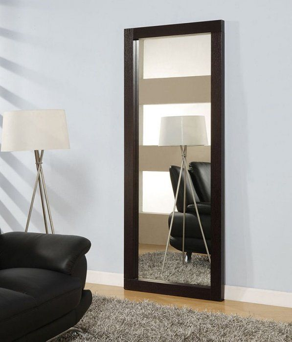 Rectangular Standing Long Mirror In Wenge Wooden Frame