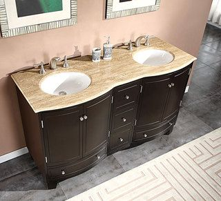 Silkroad Exclusive 60 Inch Travertine Stone Top Bathroom Vanity Double Sink Cabinet