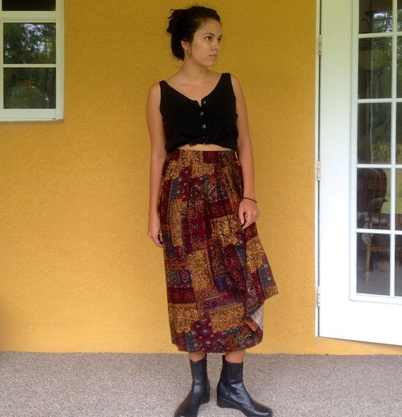 80s Patchwork Paisley Autumn Circle Skirt by VintageCandela