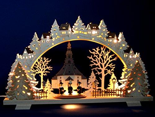 Kirche 14 cm Tischdeko Erzgebirge NEU Seiffen Weihnachten Holz natur