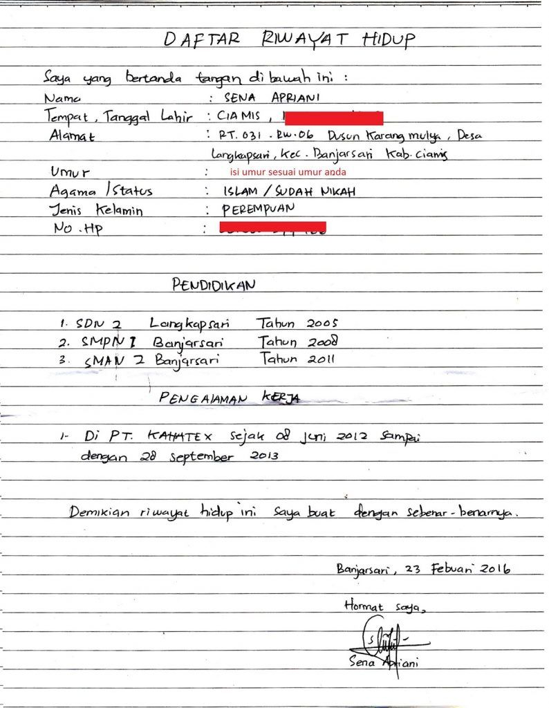 Contoh Daftar Riwayat Hidup Terbaru Riwayat Hidup Tulisan Tulisan Tangan