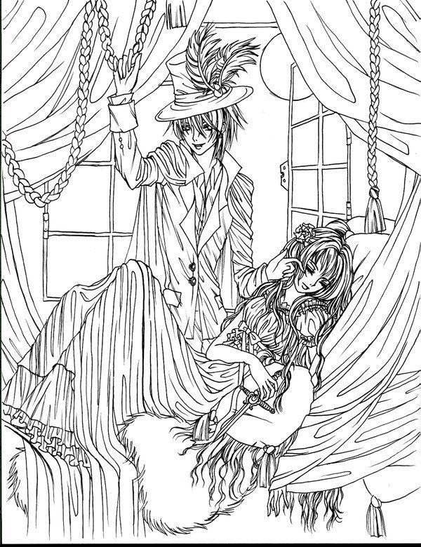 Victorian Vampire lineart by petalelf