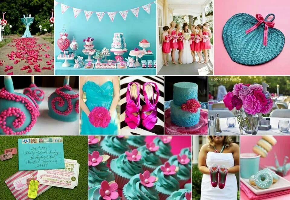 Neon Pink Turquoise Wedding Color And Maybe A Little Brown Would Be Fabulous