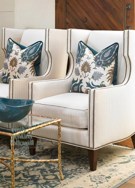 Cream And Blue Rug Transitional Living Room Olive Interiors Modern Sofa Living Room Nailhead Furniture Wingback Chair