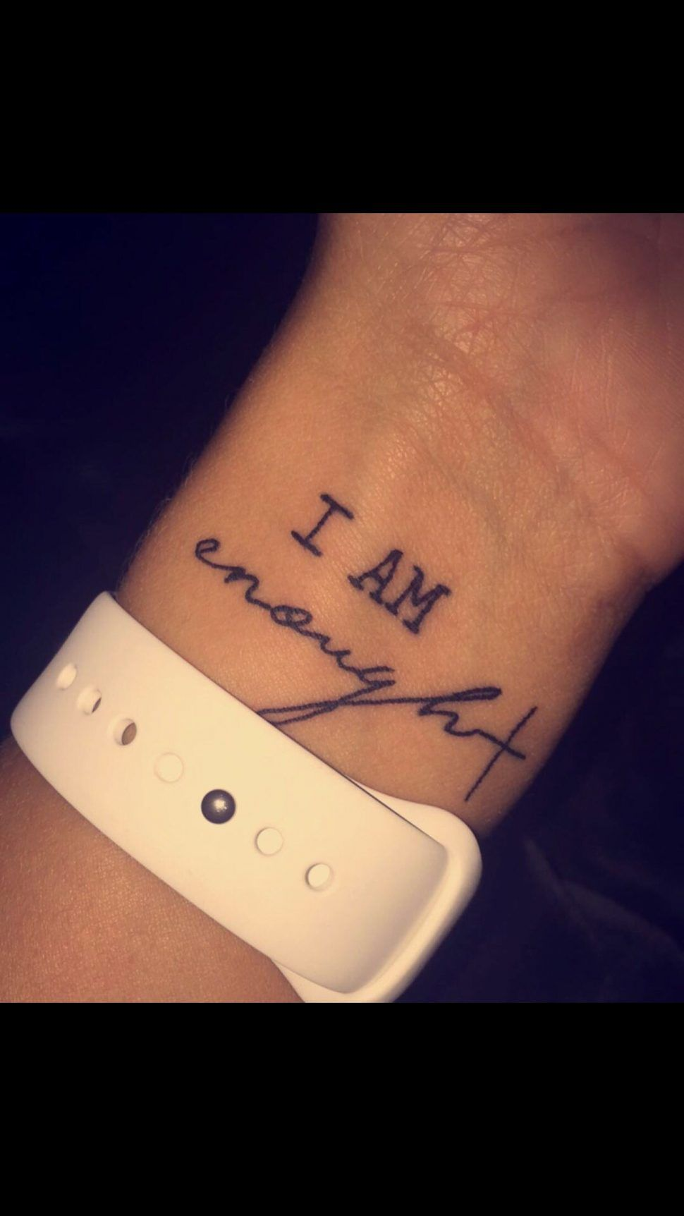 Tattoos : I Am Enough Tattoo Meaning In French Wrist Design With Cross Latin The Way Corinthians Not That We Are Sufficient Ourselves To Claim I Am En…