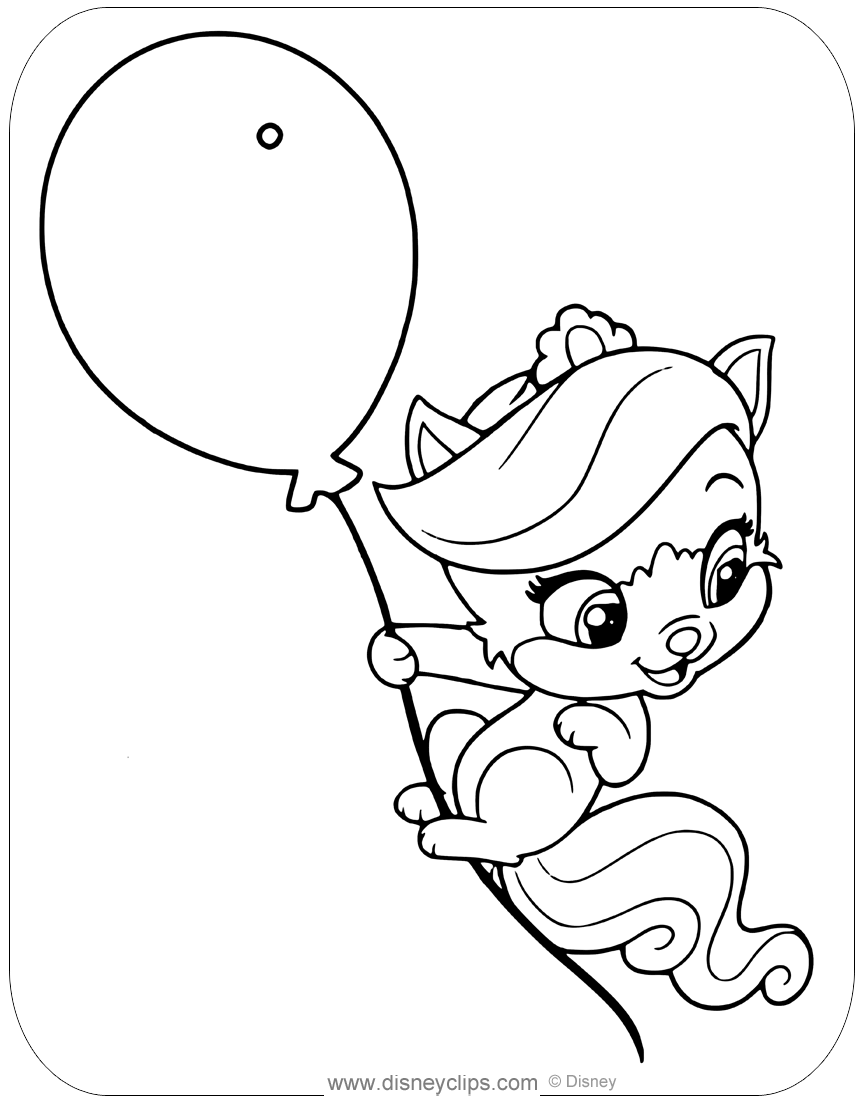 Coloring Page Of Treasure From Palace Pets Whisker Haven Floating From A Balloon Disney Palacepets Treasure Co Coloring Pages Palace Pets Disney Colors
