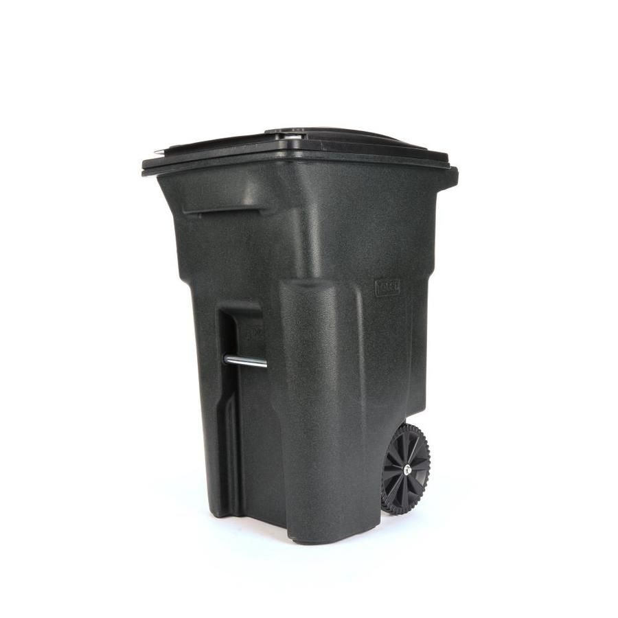 Toter Outdoor Trash Can 64 Gallon Greenstone Plastic Wheeled Trash Can With Lid 025564 01grs In 2020 Outdoor Trash Cans Lowes Home Improvements Yard Waste