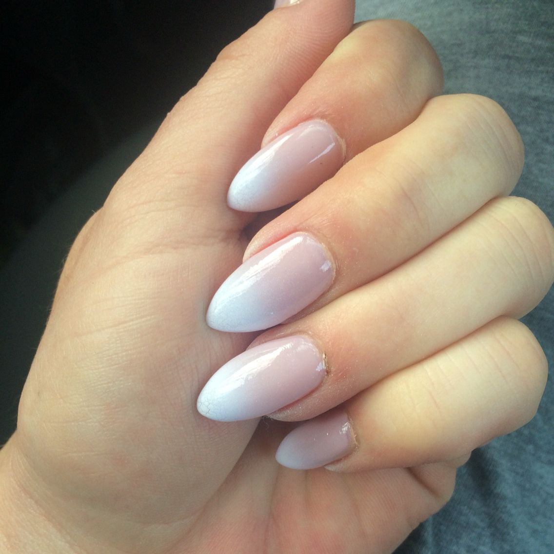 Ombré French tip almond shaped nails | Makeup/hair | Pinterest ...