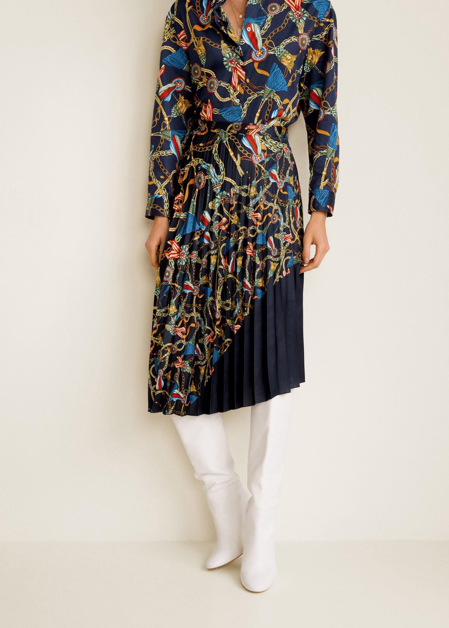 12b1d9ccdc Mango Scarf Print Pleated Skirt - XXS in 2019