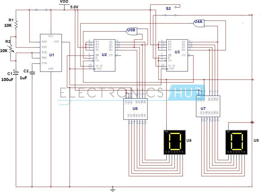 simple digital stopwatch circuit working and applications rh pinterest com