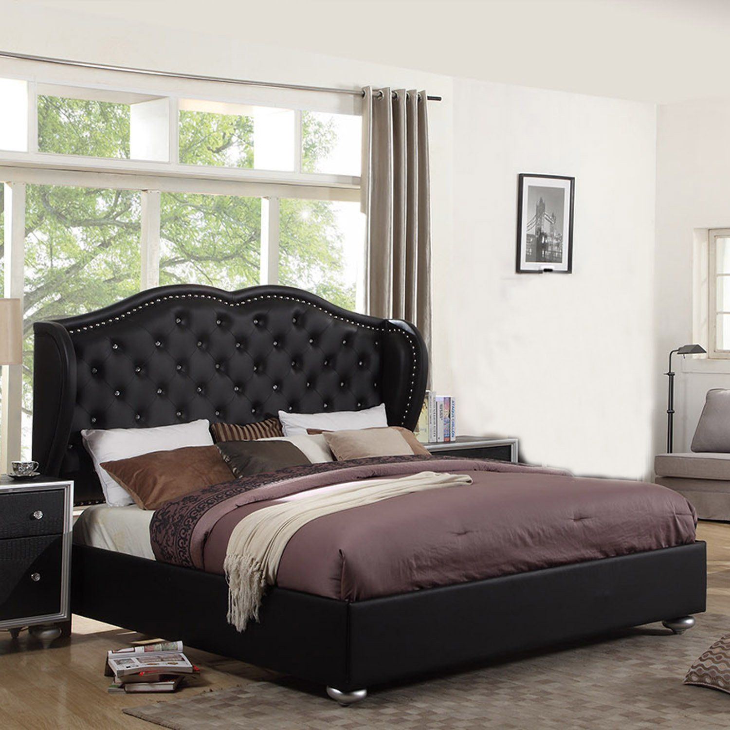 Ufe courtney black platform bed diamond tufting with Platform king bed