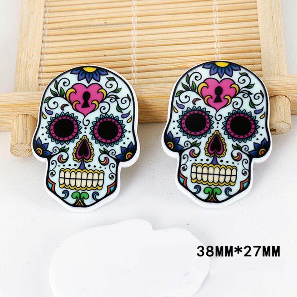 50pcs/lot Cartoon Tattoo Flower Skull Head Resin Flatback Kawaii DIY Planar  Resin Craft For. Home DecorationDecorationsResin ...