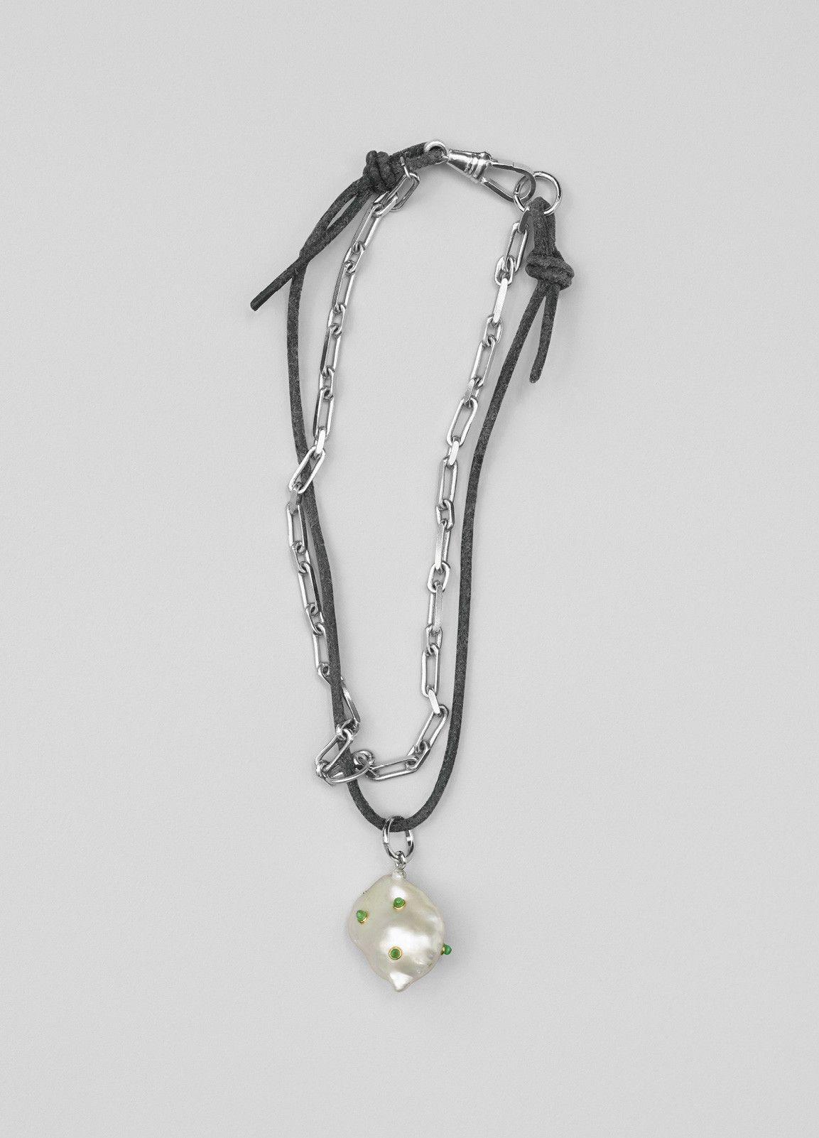 Pendant silver Perle Caline white.