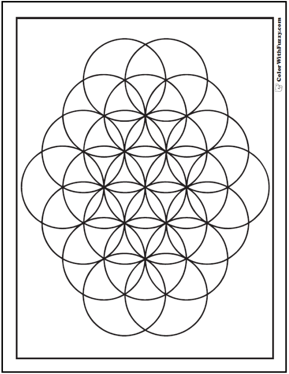 geometric pattern coloring page kids love flowers circles