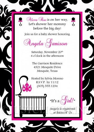 Elegant white black hot pink damask baby shower invitation elegant white black hot pink damask baby shower invitation printable filmwisefo Images