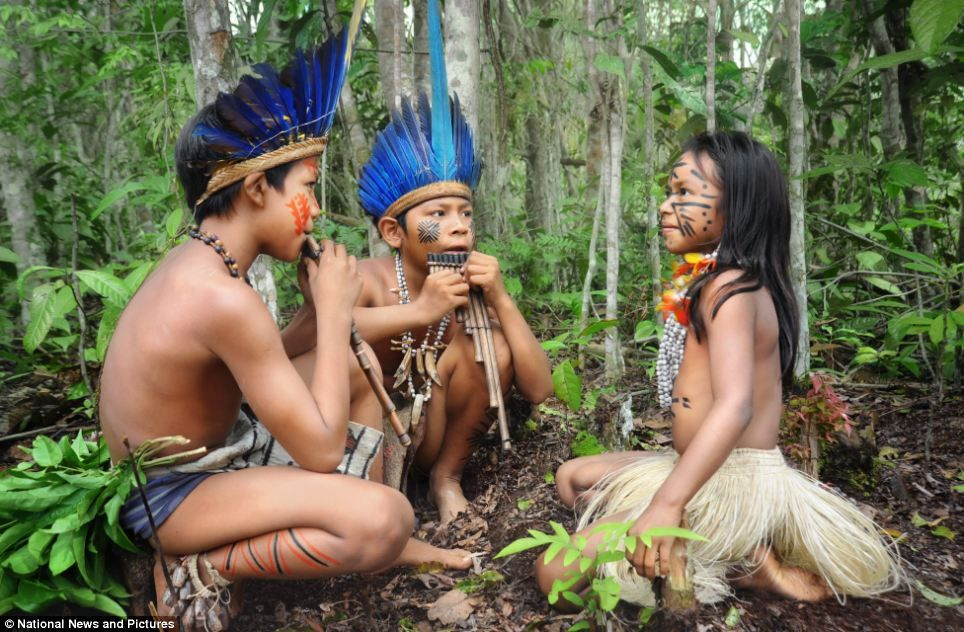 Making Music Three Children Play Pan Pipes In Their Leafy Home The Amazon Rainforest Which Is Situated Nearly 3000 Miles Away From Bra