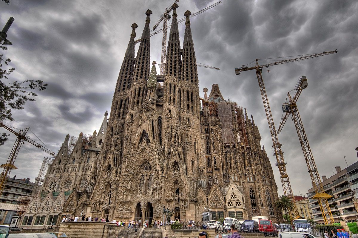 Most impressive building I've ever seen.  La Sagrada Familia Cathedral by Antoni Gaudi in Barcelona, Spain.
