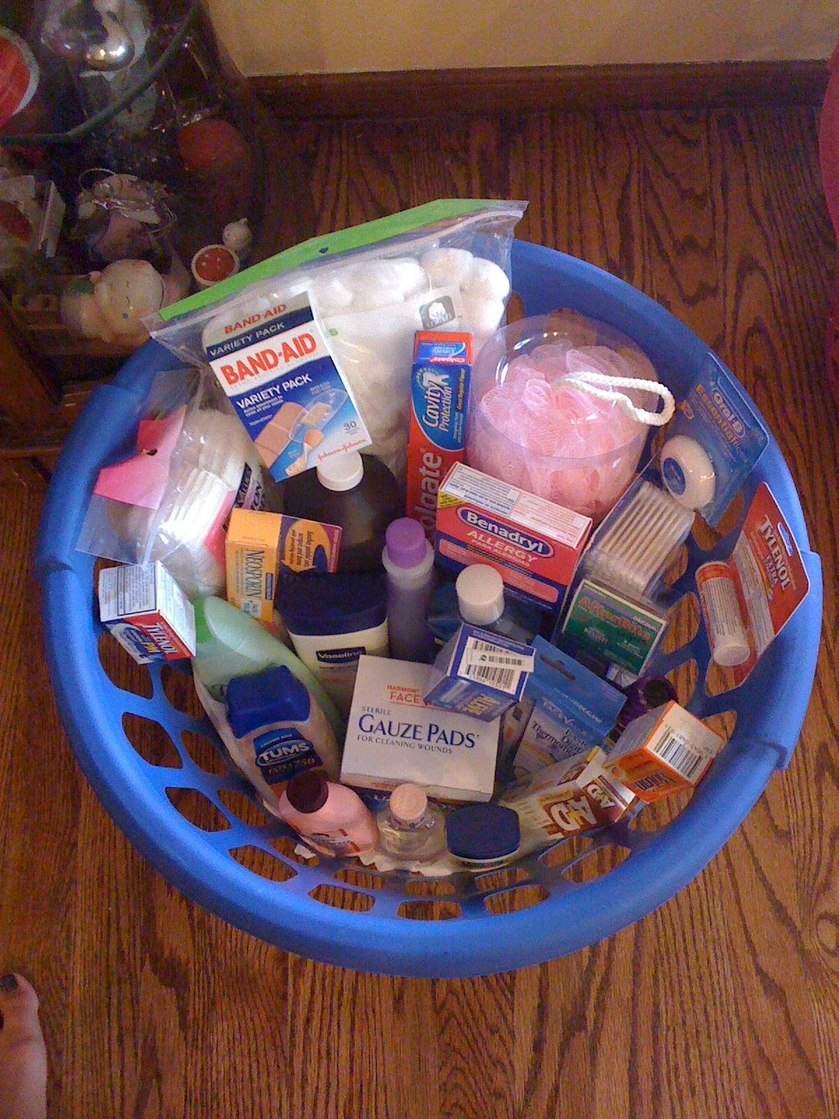 Wedding Shower Gift Basket full of medicine