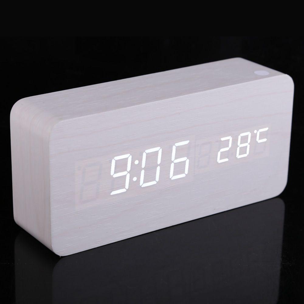 Us 14 25 Jocestyle Modern Rectangle Wooden Digital White Led Light Digital Jocestyle Light Modern Rectan Led Alarm Clock Alarm Clock Light Alarm Clock